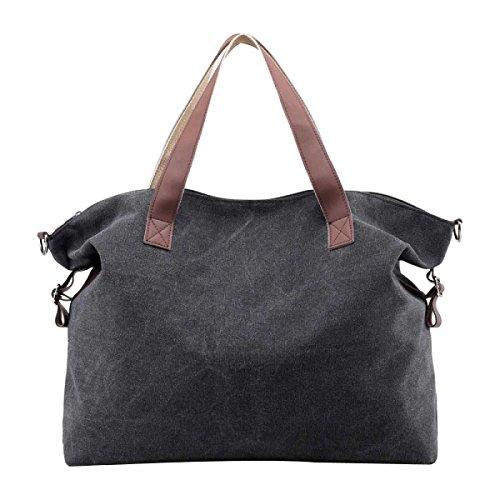 Frauen Casual Leinwand-Tasche Schultertasche Reisetasche Black