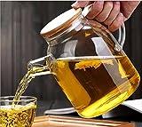 Jarra de agua de cristal, jarra de cristal para hielo frío con mango de cristal y tapa de bambú para leche, vino tinto, agua fría, zumo de fruta, café caliente, bebidas de hielo, etc., cristal de borosilicato, transparente, 1800 ML
