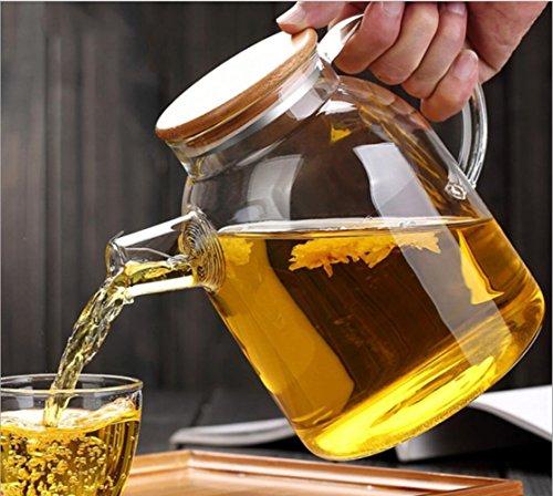 Pichet en verre avec anse et couvercle en bambou - Pour lait, vin rouge, eau fraîche, jus de fruits, café, boissons froides, etc, verre, transparent, 1800 ML