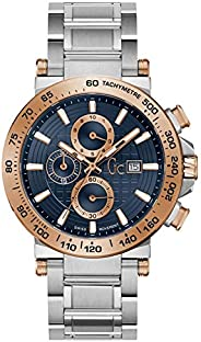 Gc Mens Quartz Watch, Analog Display and Stainless Steel Strap Y37003G7