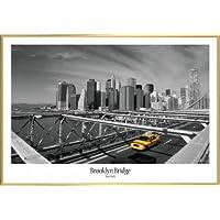 Nueva York Póster con Marco (Plástico) - Taxi Amarillo En El Puente De Brooklyn (91 x 61cm)