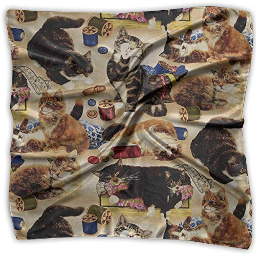 Pizeok Cats Have Fun Fabric Women's Large Square Satin Head Bandanas Silk Like Neckerchief -