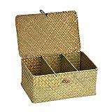 Boîte de rangement avec couvercle à trois compartiments Tissé à la main Paille Panier de rangement pour le bureau Organisateur de maquillage Boîte à bijoux Boîte de rangement Paniers de blanchisserie
