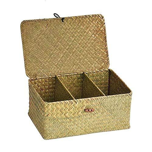 Nicololfle Aufbewahrungsbox Mit Deckel Mit DREI Fächern Natürliche Handgemachte Algen Gewebt Desktop Korb Makeup Organizer Schmuck Box Aufbewahrungsbox Seegras Wicker Wäschekörbe -