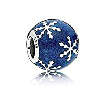 Biggold Winter Holiday 925 Sterling Silver Christmas Snowflake Charm Bead &Midnight Blue Enamel Beads fit Pandora Bracelets