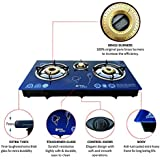 ACTIVA Surya AKSH Glass AUTO Ignition Gas Stove 3 Burner (Blue)