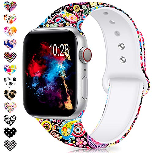 Jiamus Für Apple Watch Kompatibel Armband 38mm 40mm 42mm 44mm, Soft Silikon Classic Ersatz Uhrenarmbänder für iWatch Series 4, Series 3, Series 2, Series 1