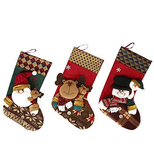 ChenYongPing Weihnachts-Weihnachtsstrümpfe Christbaumkugel mit 3D Santa Rentier Schneemann Weihnachtsstrümpfe 3 Stück Set 18-Zoll-Kamin Plüsch Strümpfe Weihnachtsstrümpfe Dekoration (18-zoll-kamin)