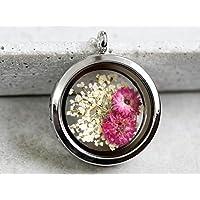 925 Sterling Silber Echte Blüten Medaillon-Kette | Lebensfreude | Naturschmuck | Geschenkidee | Handmade in Berlin | Weiße Dillblüten und Chrysanthemen | Geschenkverpackung