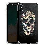 Coque en Silicone Compatible avec Apple iPhone X Étui Silicone Coque Souple Crâne Vintage Tête De Mort Crâne