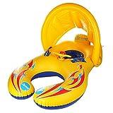 Baby Schwimmsitz Schwimmhilfe Schlauchboot Schwimmreifen , Doppel schwimmring Schwimmhilfen Schwimmen Ring für Baby von 6 Monaten bis 3 Jahre und Mutter mit Sonnenschutz und Lenkrad (Gelb)