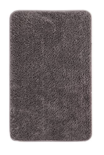 andiamo Microfaser Badteppich Größen-Oeko-Tex 100-Badvorleger eckig Badematte, Polyester, grau, 70x120 cm