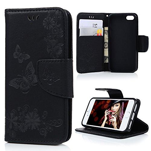 Mavis's Diary Étui iPhone 5/iPhone 5S/iPhone SE Coque en Cuir Imprimé en Relief Papillon Noir Housse Portefeuille Fente de Carte Étui à Rabat Fermeture Magnétique Flip Phone Case Cover+Chiffon noir