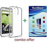 YuniKase (COMBO OFFER ) for Moto E3 Power - Soft Flexible Back Case Cover + Premium Tempered Glass screen pretector (Transparent)