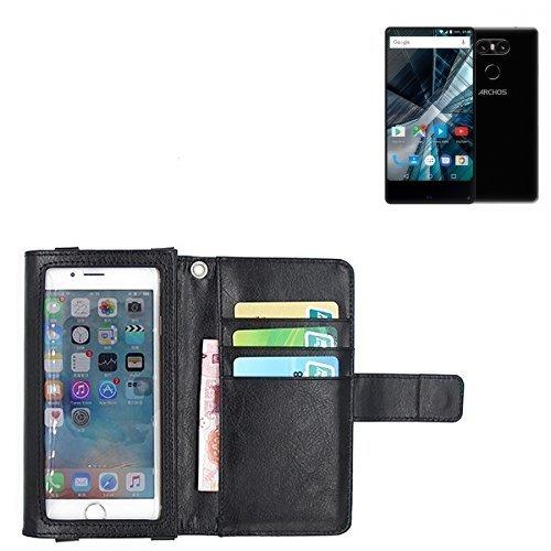 K-S-Trade Für Archos Sense 55 S Schutz Hülle Case mit Displayschutz/Schutzfolie Flip Cover Wallet case Etui Hülle für Archos Sense 55 S schwarz