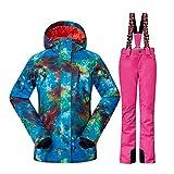 Wonny 2 Teilig Skianzug Wasserdicht Schneeanzug Jacke und Hosen Unisex Skiset Rosa M