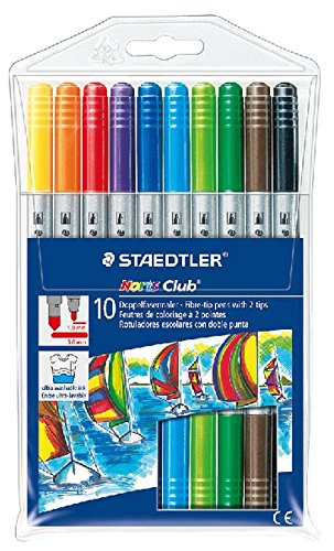 Staedtler Noris Club 320 – Paquete de 10 rotuladores (trazo doble), colores surtidos