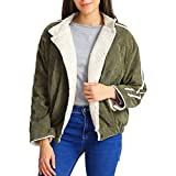 Riou Strickjacke Damen Mantel Kurz Winter Warme Dicke Gestreift Knopf Casual Jacke (XL, Grün)