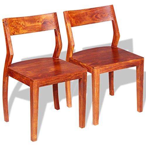 lingjiushopping Esszimmerstühle 2Pcs Akazie Massivholz Sheesham Material: Akazie massiv Holz mit Sheesham Furnier Maße: 45x 45x 80cm (W x D x H)