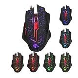 MagiDeal Verkabelt Optische Gaming-Maus LED beleuchtet 5500dpi 6-Tasten ergonomisches Design Spielmaus - Schwarz