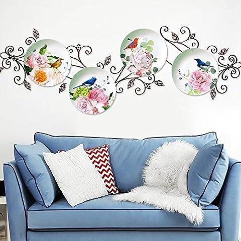 HCCY Einladende Blumen platten Wohnzimmer Wanddekoration wall Poster Schlafzimmer Hintergrundbild Das Hintergrundbild selbstklebende Sticker 123 * 41 cm, wasserdicht Vogel Platten