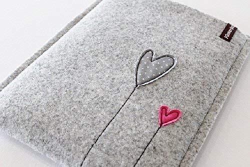 Hülle Kindle Paperwhite Tasche Filz Case Wollfilz Sleeve Hüllen handmade geschenke herz am stiel ebook reader herzen herzblumen herzballon Muttertag Valentinstag Weihnachten Frauen Mädchen