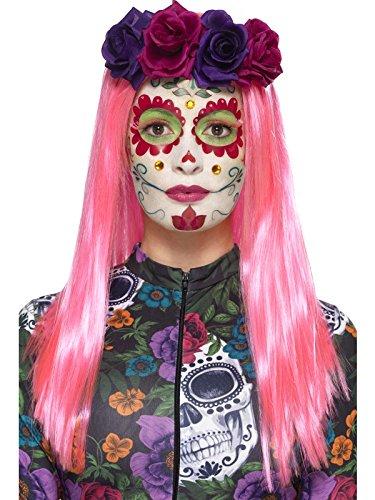 Smiffy's 44964 - Damen Tag der Toten Sweetheart Make-Up Set, Sticker, Gesichtsfarbe, Schmuck, Wimpern und Applikatoren, (Make Toten Up Tag Der Kostüm)