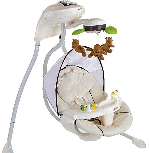 Elektrische Babyschaukel Modell Dodoli mit Musikfunktion Lichteffekte Mobile verstellbarer Sitz Timer Braun Beige