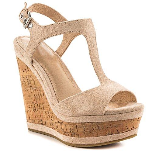 MERUMOTE Damen Y-211 Keilsandalen Plateau High Heels T Strap Sandalen Wedge Sandals Sommer Fersen Natural