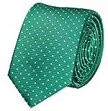 Fabio Farini moderne 6 cm Krawatte, für jeden Anlass in freundlichem grün mit feinen weißen Punkten