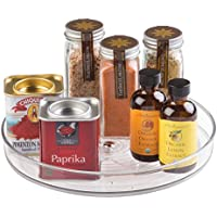 iDesign Rotatable Spice Rack, Small Plastic Kitchen Cupboard Storage for Spices and Condiments, Rotating Spice Jars Holder for Kitchen and Pantry, Clear