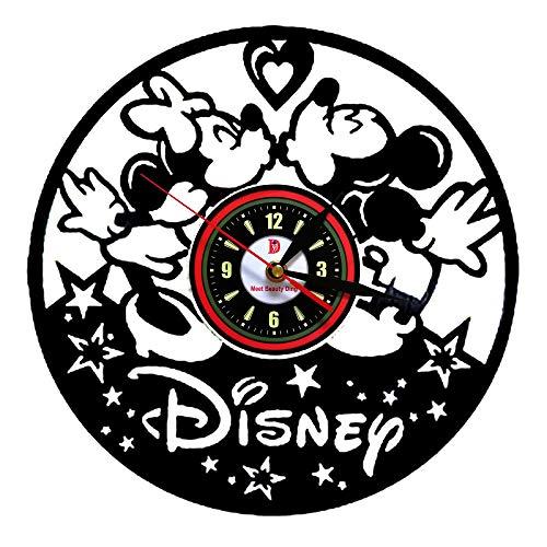 Meet Beauty Ding Niedliche Mickey Mouse Disney Anime Vinyl Record Wanduhr kreative Kinderzimmer Kunst Dekor - einzigartige handgefertigte Geschenkidee für Jungen Mädchen Halloween Weihnachten