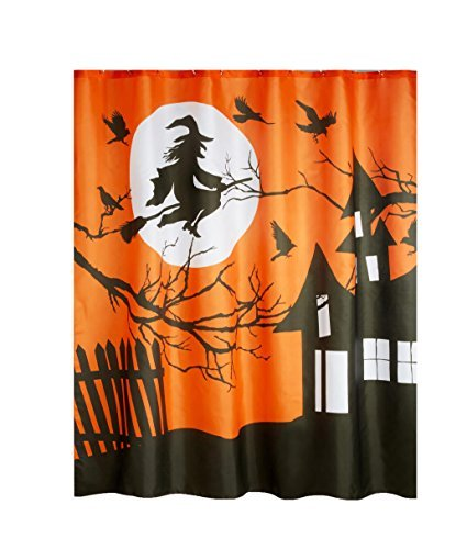een Vorhang für die Dusche Flying Hexe Haunted House Design Polyester Stoff ()
