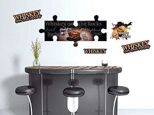 GRAZDesign Wandsticker Deko Wandtattoo Sticker Set für Küche Bar Wiskey rocks Spruch (100x57cm)