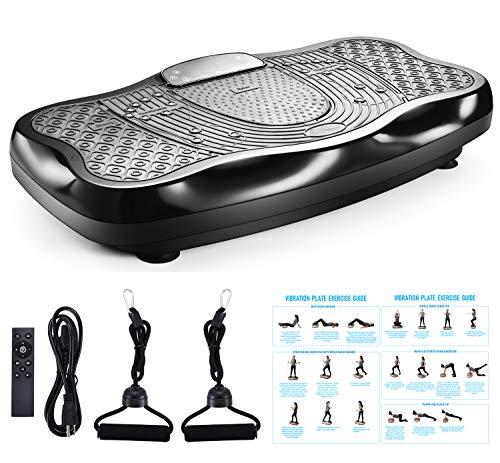 FITODO Plataforma Vibratoria MáQuina De Ejercicio VibracióN Masaje Motor Silencioso Y Altavoz Bluetooth con Control Remoto Y Bandas De EláSticas