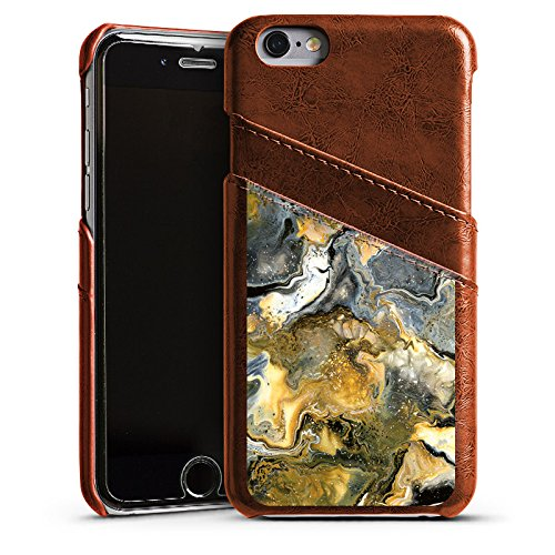 Apple iPhone 4 Housse Étui Silicone Coque Protection Marbre Style Étui en cuir marron