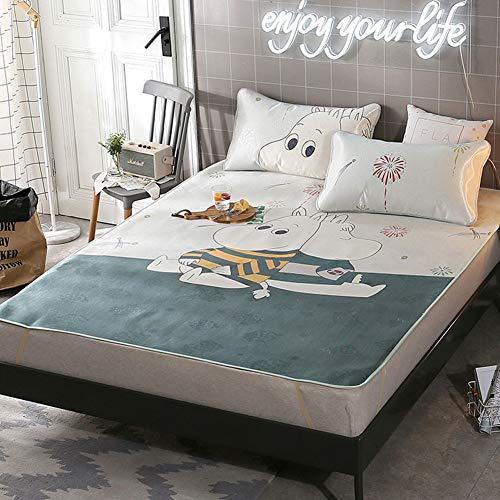 JYY Sommer Ice Silk Matratze Topper Pad - kühlende Schlafmatte mit Kissenbezug 3D-Druck Faltbare Matte (Twin/Queen/King)
