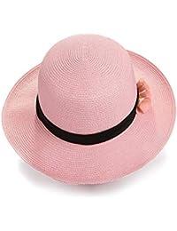 Cappello estivo in paglia da donna Summer Picnic Pieghevoli da viaggio  Cappello a tesa larga Fiore di paglia grande Cappello da spiaggia… 8cd4a08e01c5