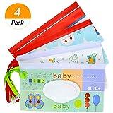 meetory Wiederverwendbar Baby Wet Wipe Tasche, tragbar Reise Wipes Reinigungstücher Schutzhülle Spender für Baby oder Persönliche, umweltfreundlich Feuchttücherreisebox (4 Pack)