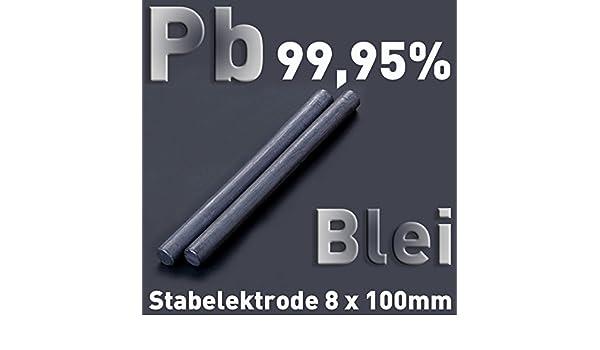 Blei Pb 99,95 Rund Stab Anode 100 x ⌀8 mm Galvanik Elektrolyse Element rein Metall
