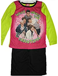 1D Big Girls Pink Green Black One Direction Band Print 2 Pc Pajama Set 8-10