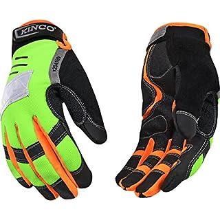 Kinco 2041HV KincoPro Hi-Visibiilty General Synthetic Leather Glove with Green Back, Work, Medium, Orange