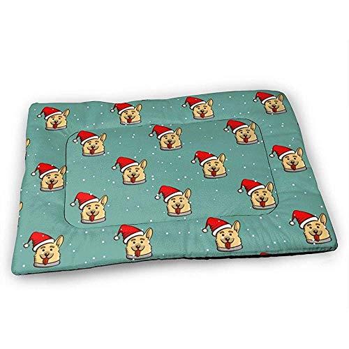 YAGEAD Smiling Corgi Hundehundebettmatte mit wasserdichter Rutschfester Unterseite, waschbare Hundekistenmatte für schlafende Haustierpolster