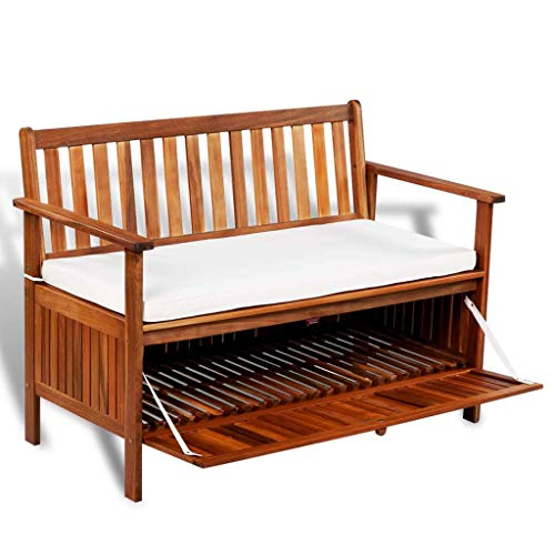 Festnight cassapanca da giardino per esterno in legno massello di acacia con schienale e braccioli a 2 posti1 20x63x84 cm