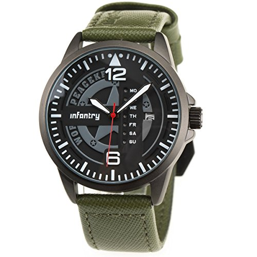 INFANTRY® Herren Analoges Quarzwerk Armbanduhr Outdoor Sport Analog Nachrich Army Echtleder World Peacekeepers