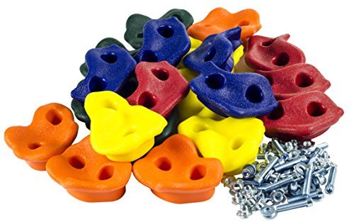 Squirrel Products 20 Assorted Rock Climbing Holds with Hardware - Jungle Gym or Swing Set Accessory