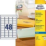 AVERY Zweckform J4720-25 Adress-Etiketten (1.200 Stück, 45,7 x 21,2 mm, 25 Blatt) transparent