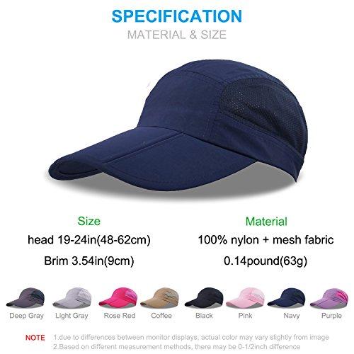 KIMTIME Quick Dry Baseball Kappe, faltbar, tragbar, mit Sonnenschutz, LSF 50+, für Sport, Laufen, Outdoor Research, Angeln, Golf, Nave Blue, Ajustable (Visor Light Blue)