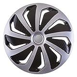 CM DESIGN Wind Silber Schwarz - 16 Zoll, passend für Fast alle FIAT z.B. für FIAT 500