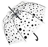 Paraguas transparente con lunares negros